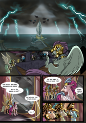 Size: 3541x5016 | Tagged: safe, artist:alexvanarsdale, artist:lummh, queen novo, hippogriff, comic:twist of faith, my little pony: the movie, absurd resolution, airship, armor, background hippogriff, comic, female, fight, lightning, male, mount aris, speech bubble, storm, storm guard, storm king's emblem, storm king's ship, wings