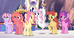 Size: 1280x660 | Tagged: safe, artist:bi-refly, oc, oc only, oc:cherry icing, oc:lickety split, oc:skywishes, oc:smitten kitten, oc:starcatcher, oc:sunny rays, earth pony, pegasus, pony, unicorn, base used, canterlot, female, magical lesbian spawn, mare, next generation, offspring, parent:big macintosh, parent:double diamond, parent:fluttershy, parent:pinkie pie, parent:princess cadance, parent:rainbow dash, parent:rarity, parent:sunburst, parent:twilight sparkle, parent:unknown, parents:cadmac, parents:cherryjack, parents:doubledash, parents:raripie, parents:twiburst