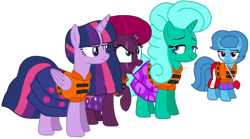 Size: 1801x1003 | Tagged: safe, artist:徐詩珮, fizzlepop berrytwist, glitter drops, spring rain, tempest shadow, twilight sparkle, alicorn, unicorn, series:sprglitemplight diary, series:sprglitemplight life jacket days, series:springshadowdrops diary, series:springshadowdrops life jacket days, alternate universe, bisexual, broken horn, clothes, cute, evil grin, female, glitter drops is not amused, glitterbetes, glitterlight, glittershadow, grin, horn, lesbian, lifeguard, lifeguard spring rain, lifejacket, polyamory, shipping, smiling, sprglitemplight, spring rain is not amused, springbetes, springdrops, springlight, springshadow, springshadowdrops, tempestbetes, tempestlight, twilight is not amused, twilight sparkle (alicorn), unamused