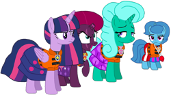 Size: 1796x998 | Tagged: safe, artist:徐詩珮, fizzlepop berrytwist, glitter drops, spring rain, tempest shadow, twilight sparkle, alicorn, unicorn, series:sprglitemplight diary, series:sprglitemplight life jacket days, series:springshadowdrops diary, series:springshadowdrops life jacket days, alternate universe, bisexual, broken horn, chase (paw patrol), clothes, cute, evil grin, female, glitter drops is not amused, glitterbetes, glitterlight, glittershadow, grin, horn, lesbian, lifeguard, lifeguard spring rain, lifejacket, marshall (paw patrol), paw patrol, polyamory, shipping, skye (paw patrol), smiling, sprglitemplight, spring rain is not amused, springbetes, springdrops, springlight, springshadow, springshadowdrops, tempestbetes, tempestlight, twilight is not amused, twilight sparkle (alicorn), unamused, zuma (paw patrol)