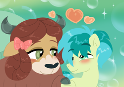 Size: 1412x992 | Tagged: safe, artist:purfectprincessgirl, sandbar, yona, earth pony, pony, yak, abstract background, blushing, bow, cloven hooves, commission, cute, female, floating heart, hair bow, heart, holding hooves, interspecies, lidded eyes, looking at each other, male, monkey swings, sandabetes, shipping, smiling, straight, yonabar, yonadorable