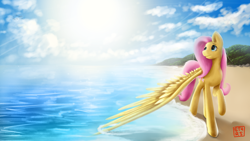 Size: 4000x2250 | Tagged: safe, artist:r1ftz, fluttershy, bird, pegasus, pony, beach, cloud, digital painting, female, mare, ocean, signature, sky, solo, sun