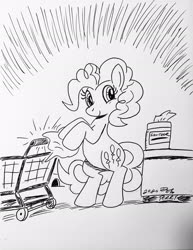 Size: 1584x2048 | Tagged: safe, artist:debmervin, pinkie pie, earth pony, pony, black and white, cleaning, female, grayscale, mare, monochrome, paper, safety, sanitizing wipes, shopping cart, simple background, smiling, solo, traditional art, white background
