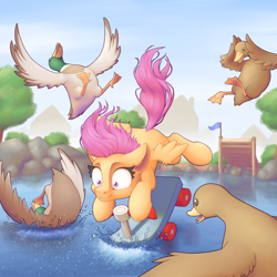 Size: 4000x4000 | Tagged: safe, artist:ohemo, scootaloo, bird, duck, pegasus, pony, absurd resolution, fail, female, filly, pond, ramp, scared, scenery, scootacrash, scooter, shrunken pupils, spread wings, this will end in tears and/or death and/or covered in tree sap, water, wings