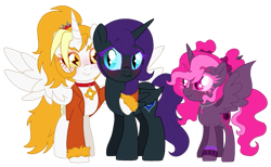 Size: 923x570 | Tagged: safe, artist:unoriginai, oc, oc only, oc:dyx, oc:nyx, oc:syx, alicorn, alicorn oc, cute, female, filly, incest, lesbian, magical lesbian spawn, my head is full of, nyxdyx, oc x oc, offspring, parent:oc:dyx, parent:oc:nyx, parents:nyxdyx, parents:oc x oc, product of incest, shipping, simple background, transparent background