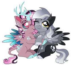 Size: 732x672 | Tagged: safe, artist:unoriginai, oc, oc only, oc:phosphorus, oc:powdered donut, draconequus, hybrid, cloven hooves, cute, extra legs, hug, interspecies offspring, looking at you, magical threesome spawn, offspring, parent:derpy hooves, parent:discord, parent:fluttershy, parent:lord tirek, parent:twilight sparkle, parents:derprek, parents:twishycord, simple background, transparent background