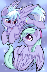 Size: 1816x2753 | Tagged: safe, artist:gleamydreams, cloudchaser, flitter, pegasus, pony, bow, cute, duo, duo female, female, flitterbetes, flying, mare, multiple characters, playing, siblings, signature, sisters, smiling, tongue out, twins, wings