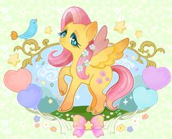 Size: 850x688 | Tagged: safe, artist:kuna4ri, bird, pegasus, balloon, cloud, female, flower, flower in hair, grass, heart, heart balloon, hill, mare, ribbon, sky, solo