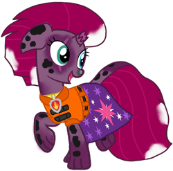 Size: 1091x1080 | Tagged: safe, artist:徐詩珮, fizzlepop berrytwist, tempest shadow, series:sprglitemplight diary, series:sprglitemplight life jacket days, series:springshadowdrops diary, series:springshadowdrops life jacket days, alternate universe, base used, character to character, clothes, lifejacket, male to female, marshall (paw patrol), paw patrol, rule 63, simple background, transformation, transgender transformation, transparent background