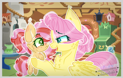 Size: 1555x988 | Tagged: safe, artist:princess3342ofc, fluttershy, oc, pony, baby, baby pony, base used, female, filly, fluttermom, fluttershy's cottage, foal, freckles, heart eyes, holding a pony, looking at each other, mother and child, mother and daughter, offspring, parent:big macintosh, parent:fluttershy, parents:fluttermac, wingding eyes