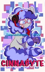 Size: 423x679 | Tagged: safe, artist:twisted-sketch, oc, oc only, oc:cinnabyte, adorkable, badge, bandana, clothes, commission, con badge, cute, dork, gaming headset, glasses, headset, socks, striped socks, tongue out