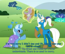 Size: 1280x1067 | Tagged: safe, artist:somashield, trixie, oc, oc:diana shield, pony, unicorn, blushing, canon x oc, cape, clothes, cutie mark, digital art, duo, eye scar, female, glowing horn, hat, horn, magic, male, mud, rule 63, scar, sky, tail, text, tristan, trixie's cape, trixie's hat