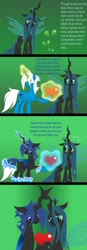 Size: 447x1280 | Tagged: safe, artist:somashield, queen chrysalis, oc, oc:soma, changeling, changeling queen, pony, unicorn, a better ending for chrysalis, blue changeling, canon x oc, changelingified, comic, digital art, female, horn, male, species swap, text, transformation, wings