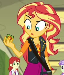 Size: 858x1000 | Tagged: safe, edit, edited screencap, screencap, nolan north, starlight, sunset shimmer, equestria girls, equestria girls series, forgotten friendship, spoiler:eqg series, blue's clues, cropped, discovery family logo, handy-dandy notebook, sunset holding things