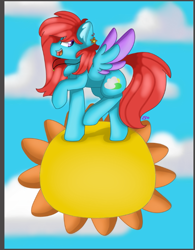 Size: 625x803 | Tagged: safe, artist:clairedaartiste444, oc, oc only, oc:cyan sunshine, pegasus, pony, ear piercing, earring, female, jewelry, necklace, pegasus oc, piercing, sky, solo, song reference, sun, tangible heavenly object, trotting, two toned wings, walking on sunshine, wings