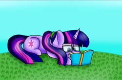 Size: 1210x801 | Tagged: safe, artist:clairedaartiste444, sci-twi, twilight sparkle, pony, unicorn, equestria girls, book, equestria girls ponified, glasses, grass, ponified, ponytail, reading, solo, unicorn sci-twi