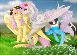 Size: 2500x1800 | Tagged: safe, artist:copshop, oc, oc only, oc:mistsuki, oc:pandita, pegasus, pony, clothes, female, mare, socks