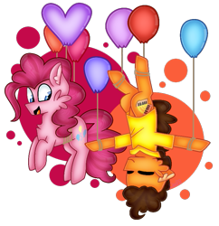 Size: 723x747 | Tagged: safe, artist:clairedaartiste444, cheese sandwich, pinkie pie, earth pony, pony, balloon, cheek fluff, duo, floating, simple background, then watch her balloons lift her up to the sky, transparent background, upside down