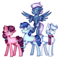 Size: 1024x1001 | Tagged: safe, artist:clairedaartiste444, double diamond, night glider, party favor, sugar belle, earth pony, pegasus, pony, unicorn, cheek fluff, chest fluff, clothes, floppy ears, scarf, simple background, transparent background