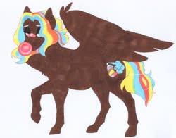 Size: 3593x2814   Tagged: safe, artist:frozensoulpony, oc, oc:nere viper, pegasus, pony, bubblegum, female, food, gum, high res, mare, offspring, parent:rainbow dash, parent:thunderlane, parents:thunderdash, solo, traditional art