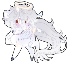 Size: 1024x921   Tagged: safe, artist:azure-art-wave, oc, oc:mjoll, pegasus, pony, blushing, chibi, halo, horns, simple background, solo, transparent background, two toned wings, wings