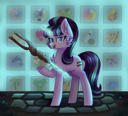 Size: 981x892 | Tagged: safe, artist:clairedaartiste444, starlight glimmer, pony, unicorn, the cutie map, cheek fluff, chest fluff, cutie mark vault, equal cutie mark, glowing horn, horn, levitation, magic, s5 starlight, solo, staff, staff of sameness, telekinesis