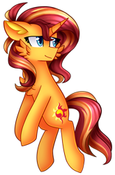Size: 615x932 | Tagged: safe, artist:clairedaartiste444, sunset shimmer, pony, unicorn, cheek fluff, chest fluff, floppy ears, simple background, solo, transparent background
