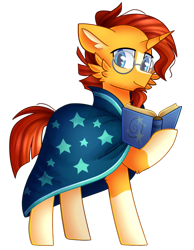 Size: 578x745 | Tagged: safe, artist:clairedaartiste444, sunburst, pony, unicorn, book, cheek fluff, clothes, floppy ears, glasses, hoof hold, robe, simple background, solo, sunburst's robe, transparent background