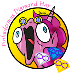 Size: 1134x1134 | Tagged: safe, artist:kacpi, oc, oc:pinkadermus diamond hay, alicorn, alicorn oc, avatar, cutie mark, solo