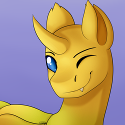 Size: 1000x1000 | Tagged: safe, artist:dreamy, artist:littledreamycat, oc, oc:ren the changeling, commission, fullshade, one eye closed, profile picture, wink, yellow changeling