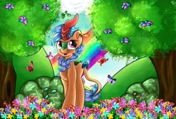 Size: 1280x866 | Tagged: safe, artist:appleneedle, oc, oc only, butterfly, kirin, pony, art, blossoms, bush, character, cloud, colorful, colors, commission, digital art, drawing, fanart, finished commission, flower, hill, paint, painting, palindrome get, rainbow, sky, solo, soul, tree