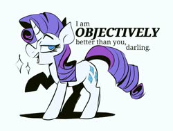 Size: 1024x775 | Tagged: safe, artist:klhpyro, rarity, pony, unicorn, blatant lies, darling, dialogue, female, looking at you, mare, one hoof raised, simple background, smug, solo, sparkles, standing, vulgar description, white background