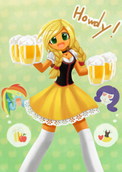 Size: 1000x1407 | Tagged: safe, artist:howxu, applejack, rainbow dash, rarity, equestria girls, adorasexy, alcohol, alternate hairstyle, bar maid, beer, braid, cider, clothes, commission, cute, dirndl, dress, female, hatless, howdy, jackabetes, lesbian, looking at you, missing accessory, rarijack, sexy, shipping, skirt, socks, that pony sure does love cider