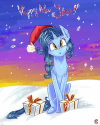 Size: 1728x2160 | Tagged: safe, oc, oc only, oc:starley orlin, unicorn, chest fluff, christmas, hat, holiday, male, new year, present, santa hat, snow, snowfall, solo