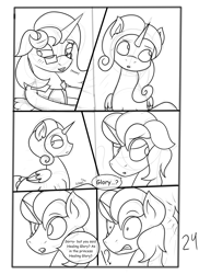 Size: 2904x4000 | Tagged: safe, artist:jamestoneda, oc, oc:king righteous authority, oc:princess young heart, oc:queen fresh care, oc:wonder weather, alicorn, pony, comic:securing a sentinel, alicorn oc, alicorn princess, armor, clothes, comic, commissioner:bigonionbean, cute, dialogue, father and child, father and daughter, female, fusion, fusion:king righteous authority, fusion:princess young heart, fusion:queen fresh care, fusion:wonder weather, glasses, husband and wife, male, mare, mother and child, mother and daughter, ponyville, shocked, sketch, sketch dump, stallion, writer:bigonionbean