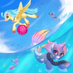 Size: 4096x4096 | Tagged: safe, artist:colorpalette-art, princess skystar, oc, bird, hippogriff, pegasus, pony, seagull, seapony (g4), my little pony: the movie, ball, clothes, scarf, swimming, underwater, water