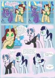 Size: 2480x3508 | Tagged: safe, artist:kozachokzrotom, fancypants, soarin', oc, oc:king calm merriment, alicorn, crystal pony, pegasus, pony, unicorn, comic:couple of the crystal empire, alicorn oc, armor, butt bump, butt smash, clothes, comic, commissioner:bigonionbean, crash, crystal, crystal empire, cutie mark, doors, embarrassed, fusion, fusion:king calm merriment, palace, random pony, royal guard, royal guard armor, royalty, smothering, stained glass window, thought bubble, writer:bigonionbean