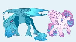 Size: 1024x566 | Tagged: safe, artist:loryska, princess flurry heart, oc, oc:janus, alicorn, pony, alicorn oc, blue background, chest fluff, cloven hooves, ear fluff, female, leg fluff, leonine tail, male, mare, offspring, older, older flurry heart, parent:princess luna, simple background, stallion, unshorn fetlocks