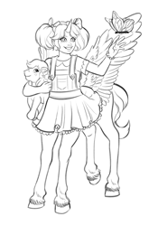 Size: 1611x2296 | Tagged: safe, artist:aerodynamict, derpibooru exclusive, bowtie (g1), oc, oc:beau spark, butterfly, centaur, blouse, bracelet, clothes, commission, dress, female, freckles, frilly dress, g1, hair ribbon, jewelry, lineart, pegasus wings, pigtails, plushie, simple background, smiling, unicorn horn, unshorn fetlocks, wings, wip, young