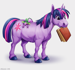 Size: 791x730 | Tagged: safe, artist:zazush-una, spike, twilight sparkle, lizard, pony, unicorn, book, bookhorse, drool, female, hoers, mare, mouth hold, realistic, simple background, unicorn twilight, white background