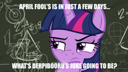 Size: 1280x720 | Tagged: safe, edit, edited screencap, screencap, twilight sparkle, alicorn, derpibooru, sparkle's seven, spoiler:s09e04, april fools 2020, caption, chalkboard, image macro, meme, meta, solo, text, twilight sparkle (alicorn)