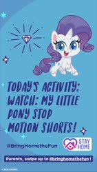 Size: 1080x1920 | Tagged: safe, rarity, pony, unicorn, my little pony: pony life, coronavirus, instagram story, official, solo, text