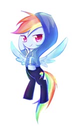 Size: 828x1440 | Tagged: safe, artist:bronyazaych, rainbow dash, pegasus, pony, equestria girls, equestria girls series, clothes, cute, cutie mark, cutie mark on clothes, dashabetes, equestria girls ponified, female, hoodie, looking at you, mare, ponified, simple background, solo, spread wings, white background, wings