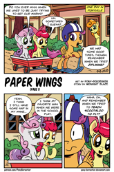 Size: 1519x2306 | Tagged: safe, artist:pony-berserker, apple bloom, carrot top, golden harvest, scootaloo, sweetie belle, earth pony, pegasus, pony, unicorn, comic:paper wings, comic, cute, cutie mark crusaders, helmet, scootaloo can't fly, scooting, shrunken pupils