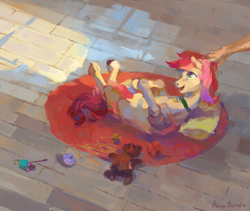 Size: 1711x1445 | Tagged: safe, artist:malinetourmaline, roseluck, human, pony, behaving like a cat, collar, cute, hand, on back, pet tag, petting, pillow, pony pet, toy, yarn, yarn ball
