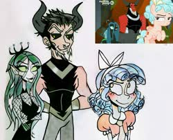 Size: 2849x2302 | Tagged: safe, artist:citi, screencap, cozy glow, lord tirek, queen chrysalis, human, frenemies (episode), spoiler:s09e08, humanized, scene interpretation, screencap reference, skinny, traditional art