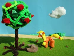 Size: 1024x768 | Tagged: safe, alternate version, artist:malte279, applejack, apple, apple tree, craft, hat, sculpture, starch foam, tree