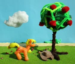 Size: 1024x880 | Tagged: safe, alternate version, artist:malte279, applejack, apple, apple tree, craft, hat, sculpture, starch foam, tree