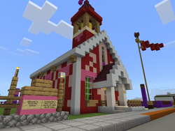 Size: 2048x1536 | Tagged: safe, artist:topsangtheman, flag, game screencap, minecraft, no pony, ponyville schoolhouse