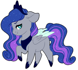 Size: 1024x924   Tagged: safe, artist:azure-art-wave, oc, oc:andromeda, pegasus, pony, chibi, crown, ethereal mane, female, jewelry, mare, peytral, raised hoof, regalia, simple background, solo, starry mane, transparent background, two toned wings, wings